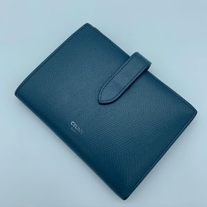 Celine medium strap wallet in grained calfskin